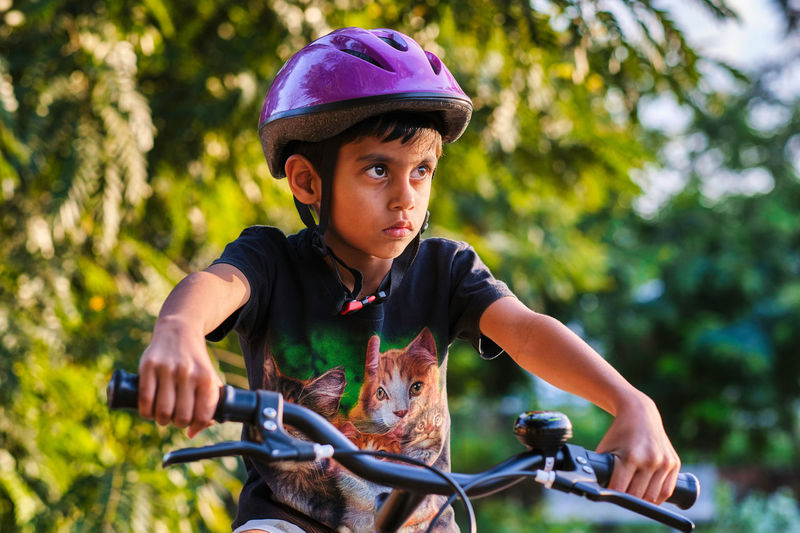 Close up of a cyclist boy
