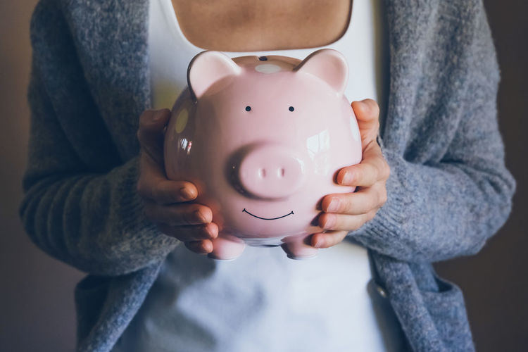 Female saving money for household payments, bank bills, calculating monthly family budgets