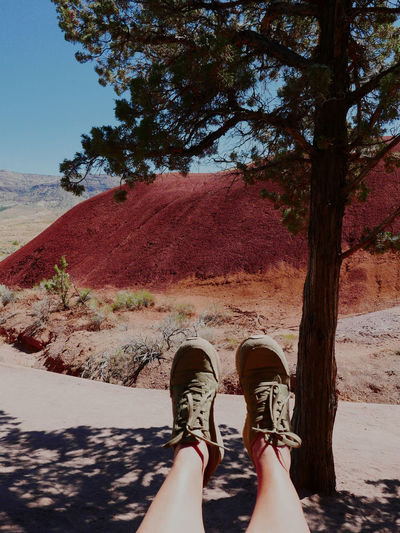 Hiking Painted Hills Sunny Human Leg Nature Oregonexplored Outdoors Personal Perspective Rest Shadow Shoe Tree Warm Warmth