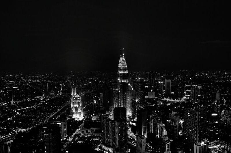High angle view of urban skyline at night
