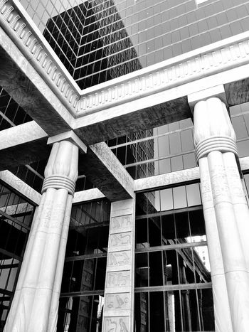 Architecture Built Structure Low Angle View No People Outdoors Monochrome Photography Building Exterior Travel Destinations Las Vegas LuxorHotel Glass Reflection Dramatic Angles Minimalist Architecture