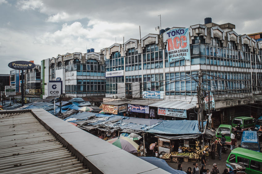 Market Traditional Market Architecture Building Exterior Built Structure City City Life Cloud - Sky Day First Eyeem Photo Group Of People High Angle View Marketplace Outdoors People Real People Sky Street