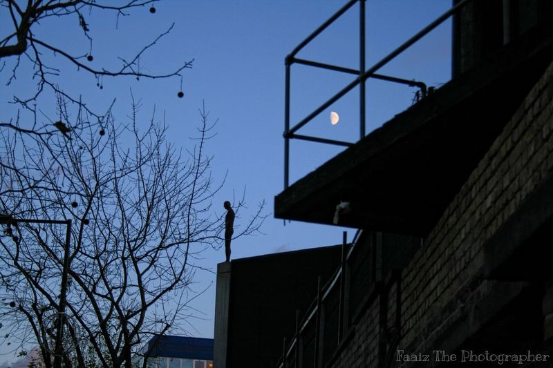 Roundhouse Camden Chalkfarm Man Silhouette Balcony Moon Moonlight Taking Photos Check This Out Hello World Streetphotography London Nightlife Tree Branches