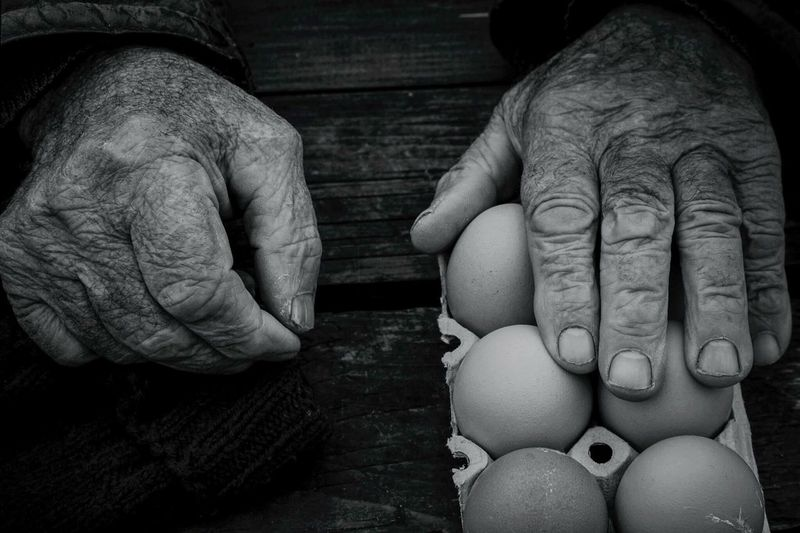 Cropped hand of man touching eggs on table
