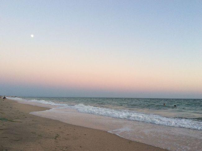 Beach Sea And Sky Sea Seaside Sea View Seascape Evening Sky Moon Sunset Sky