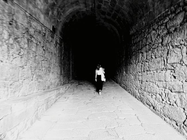 Tunnel One Person Full Length Walking Adult Leaving Architecture People Day One Woman Only Indoors  Historical Building Fortress Of Stone Fortified Walls Valenca Portugal Valenca The Week On EyeEm
