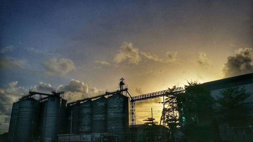 Cloud - Sky Sky Outdoors Architecture No People Building Exterior Day Pixelated Trinidad Trinidad And Tobago Silos Industrial Landscapes Industrialbeauty Industrial Site Sunset