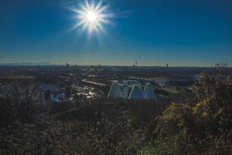 Sewage Treatment Plants Against Blue Sky On Sunny Day