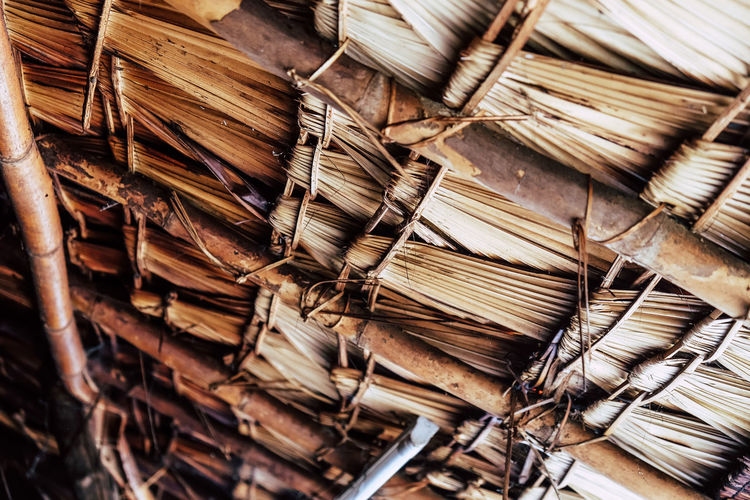 Low angel view of thatched roof