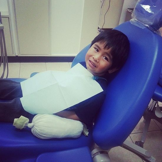 Im so proud of him. He was so nervous to get his teeth cleaned but he was so brave. ♡ :] Aaronwilliam Brave Littleman Babybro dentist appointment