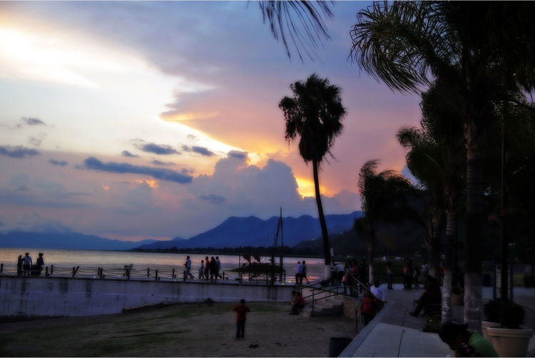 Chapala Lake Chapala Jalisco Mexico Beach Beauty In Nature Chapala Chapala! Cloud - Sky Incidental People Land Nature Outdoors Palm Tree Plant Real People Scenics - Nature Sea Silhouette Sky Sunset Tranquil Scene Tranquility Tree Tropical Climate Water
