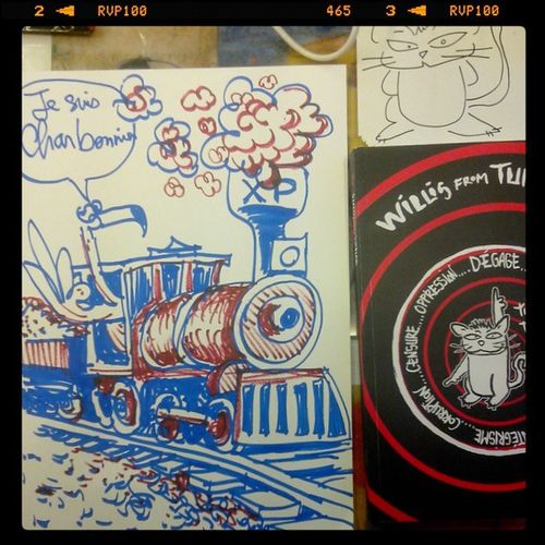 De nouvelles illustrations coté XenPonic @GareXP après le CinéClub Caricaturistes la soirée continue...