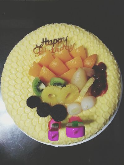 Cake Happy Birthday! Tropical Fruits Pudding