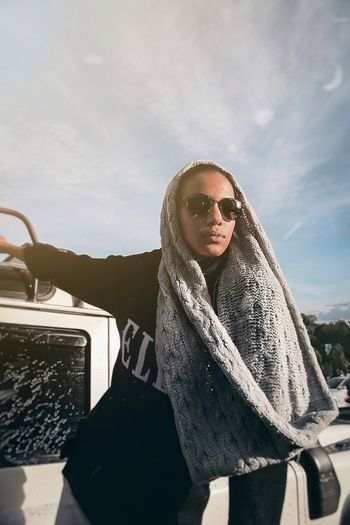 Photography EyeEm Best Shots Portrait Of A Woman Streetphotography Warm Clothing Portrait Young Women Standing Winter Front View Sky Coat Scarf