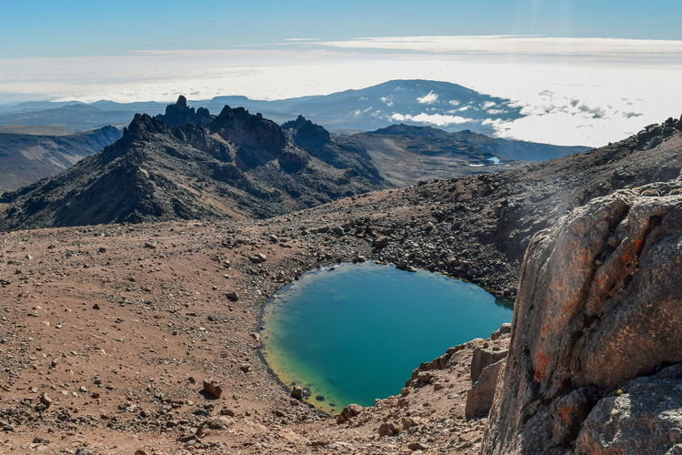 Scenic view of lake and mountains against sky, mount kenya national park, kenya