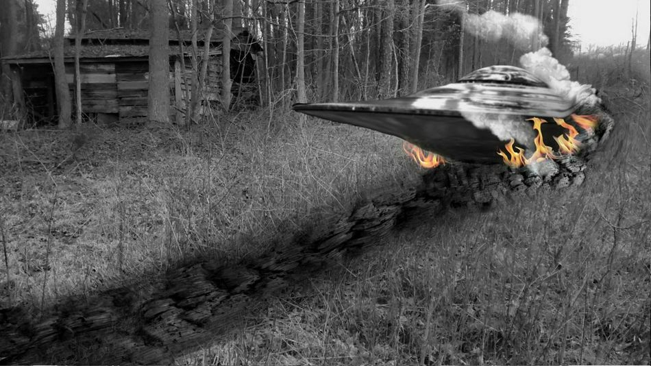 There here ! Black & White B&w Photography Alien Flying Saucer Invasion Science Fiction Twisted Dream Old Shed Dark Woods