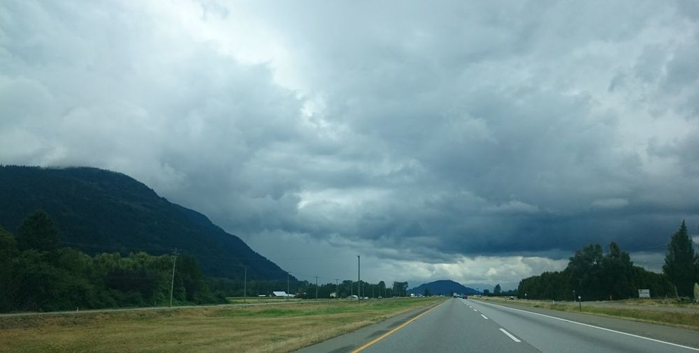 Beauty In Nature Canada Cloud - Sky Clouds And Sky Cloudscape Cloudy Day Dramatic Sky Extreme Weather Horizontal Landscape Nature No People Outdoors Rain Rainy Days Road Storm Storm Cloud Thunderstorm Vancouver BC Winding Road