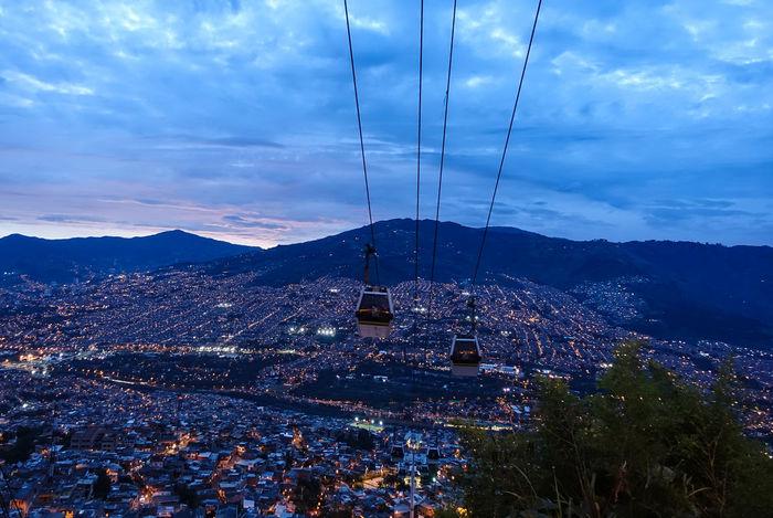 Azul Blue Blue Sky Cable Car City Lights Colombia Luces De Ciudad Medellín Puesta Del Sol Sunset Teleferico
