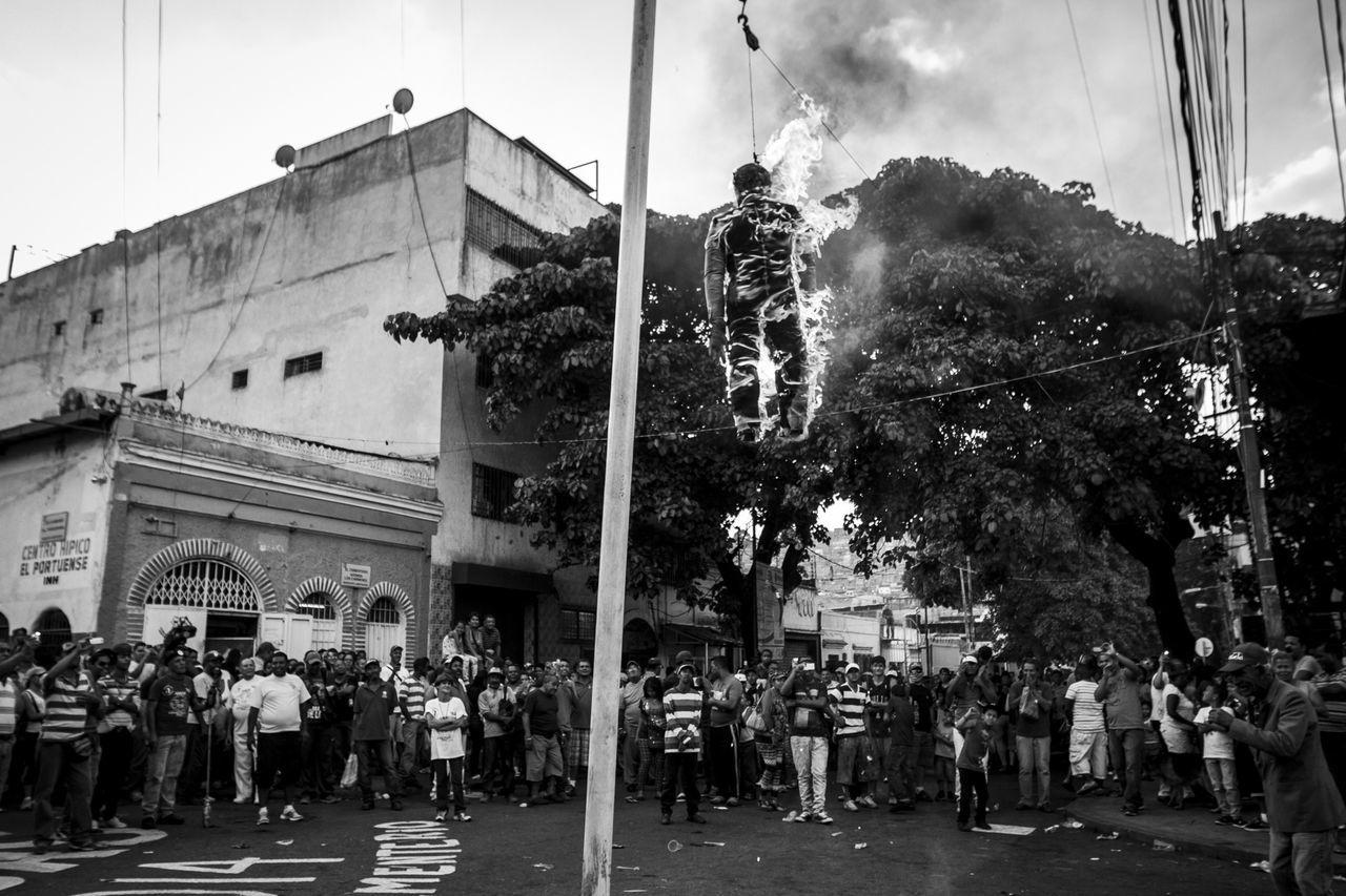 Architecture, Building Exterior, Burning, Caracas, Crowd