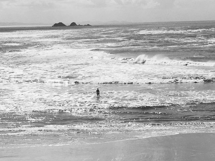 Horizon Over Water Beach Wave Sky Men Outdoors One Person Nature Real People Day Australia Blackandwhite