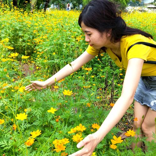 Young woman with yellow flowers
