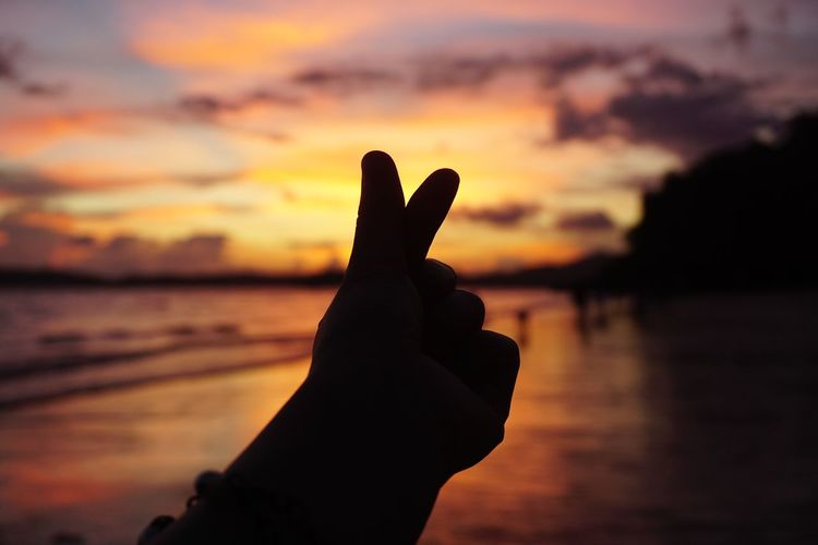 Silhouette of hand gesturing against sky during sunset