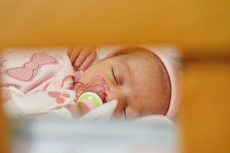 Innocence Indoors  Baby Crib Babysleeping Girl Close-up Childhood Newborn Indoors  Detroit Child
