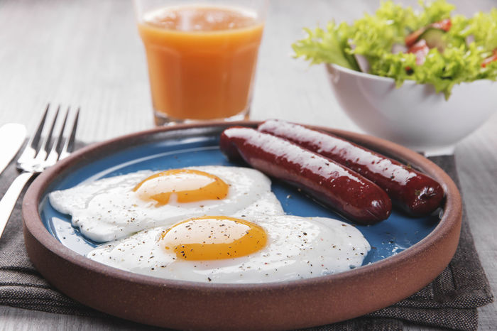 Sausages Bacon Breakfast Close-up Day Drink Egg Egg Yolk English Breakfast Focus On Foreground Food Food And Drink Fork Freshness Fried Fried Egg Healthy Eating Indoors  No People Orange Juice  Plate Ready-to-eat Sausage Table