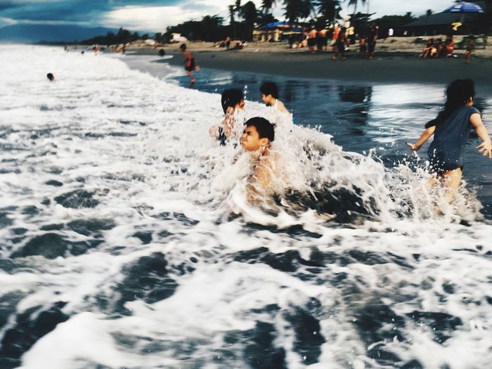 Water Motion Real People Leisure Activity Sea Group Of People Waterfront Enjoyment Wave People Day Fun