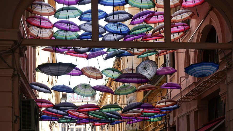 Low angle view of umbrellas for sale at market stall