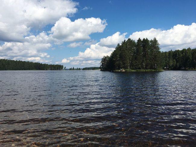 Sky Tree Water Nature Lake Day Clear Sky Finland Финляндия озеро небо солнечно вода деревья облака