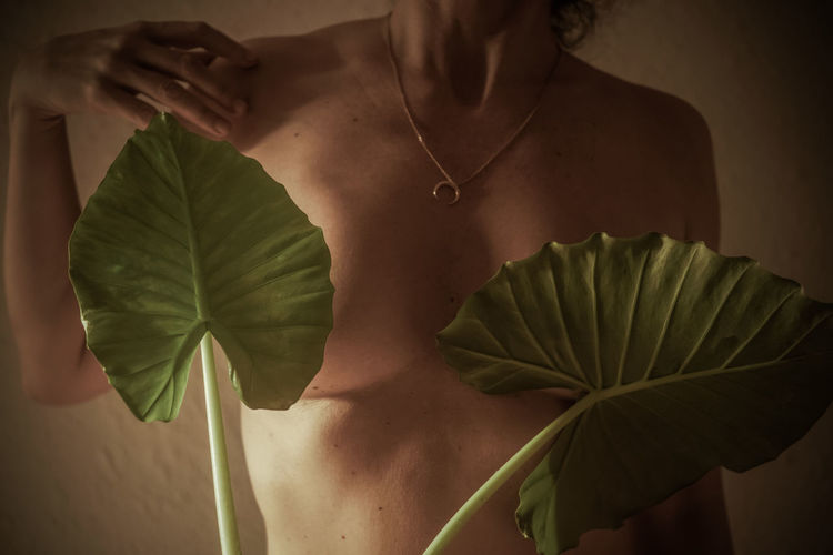 Midsection of shirtless woman standing by leaves