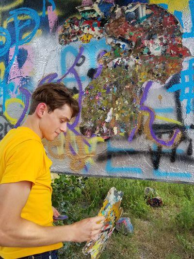 Harvesting grafitti paint The Portraitist - 2018 EyeEm Awards Multi Colored Boys Happiness Artist Smiling Graffiti Street Art Art Mural Spray Paint ArtWork