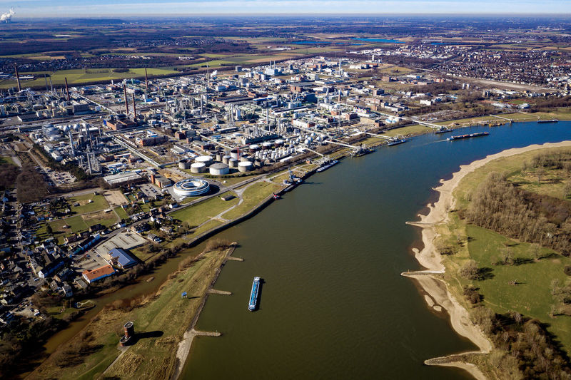 first sunny hours in Rheinaue near Cologne-Worringen No People Nature Day Outdoors Dronephotography Aerial Photography Riverside Trees River Rhine River