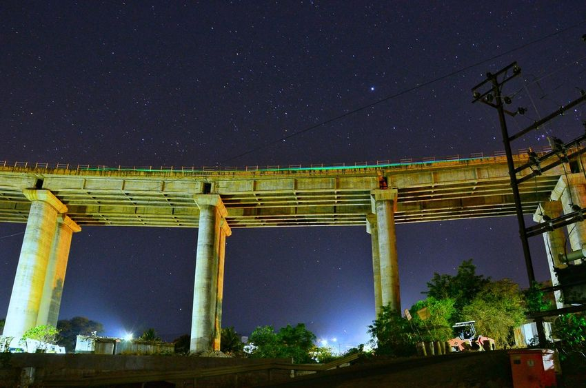 Flyover Star - Space Night Astronomy Long Exposure Space And Astronomy Bridge - Man Made Structure Constellation TheIMAGE No People Nature Outdoors Nightphotography MyDarkShot Night Photography Longexpoelite Theimaged Longexposurephotography Road Compositionkillerz Blurred Motion Traffic Longexposure Light Trail Long Exposure Shot Long Exposure Night Photography