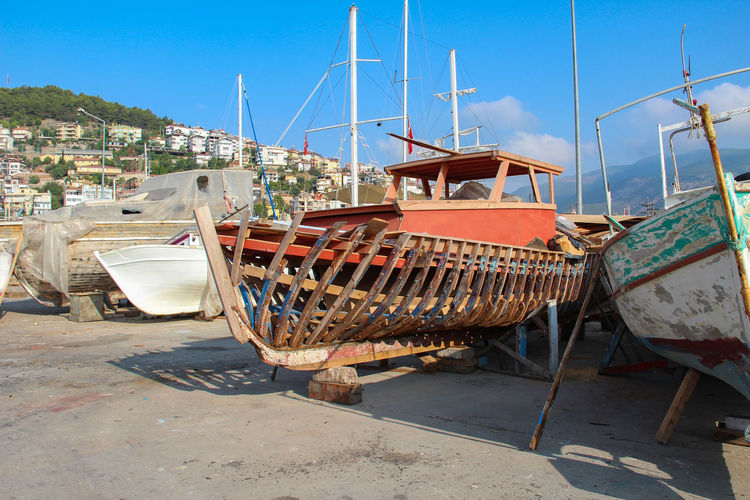 Nautical Vessel Transportation Mode Of Transportation Moored Sky No People Nature Sunlight Day Water Harbor Architecture Mast Sea Outdoors Shadow Clear Sky Built Structure Sailboat Fishing Boat Fishing Industry Port Turkey Alanya