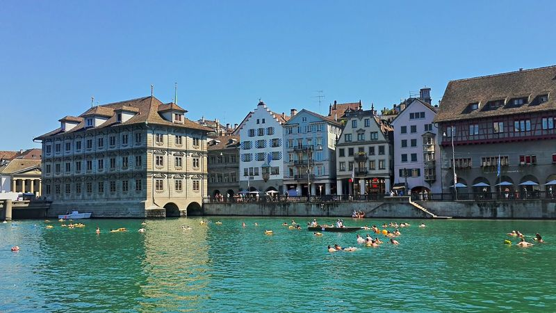 Limmatschwimmen Architecture Blue Building Exterior Built Structure City City Life Large Group Of People Limmat Limmatquai River Schweiz Switzerland Travel Destinations Water Waterfront Zürich