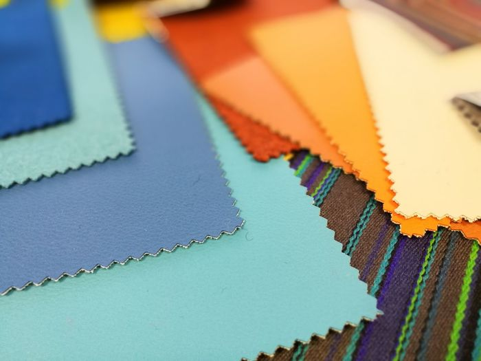 Close-up of fabric swatches