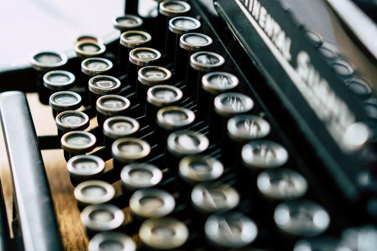 Close-up of retro typewriter