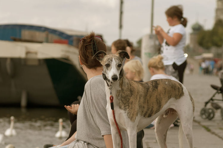 Czech Republic Day Domestic Animals Outdoors People Pets Prague Real People Riverside Street Streetphotography Summer Water
