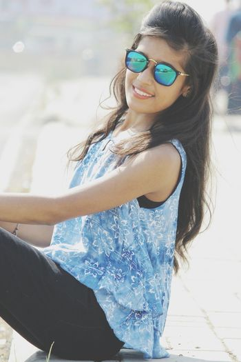 Sunglasses Smiling Fun Happiness Summer Enjoyment Cheerful Long Hair Portrait Young Adult Leisure Activity Stylish Beautiful Woman Imphotographer Impictures ImPrashant ImPHOTO