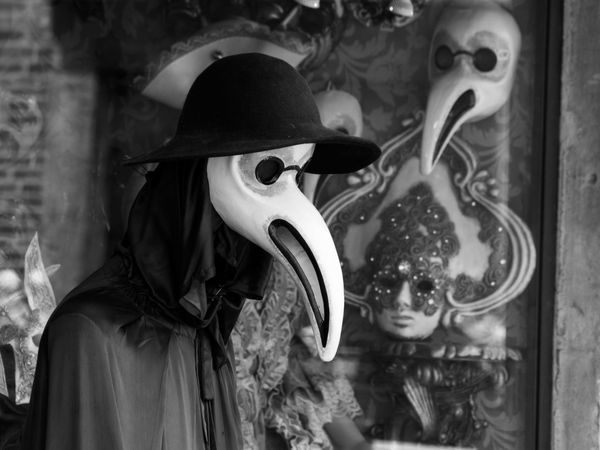 Animal Representation Black And White Celebration City Close-up Costume Day Europe Indoors  Italy Mask - Disguise No People Plague Doctor Travel Venetian Mask Venice Venice, Italy