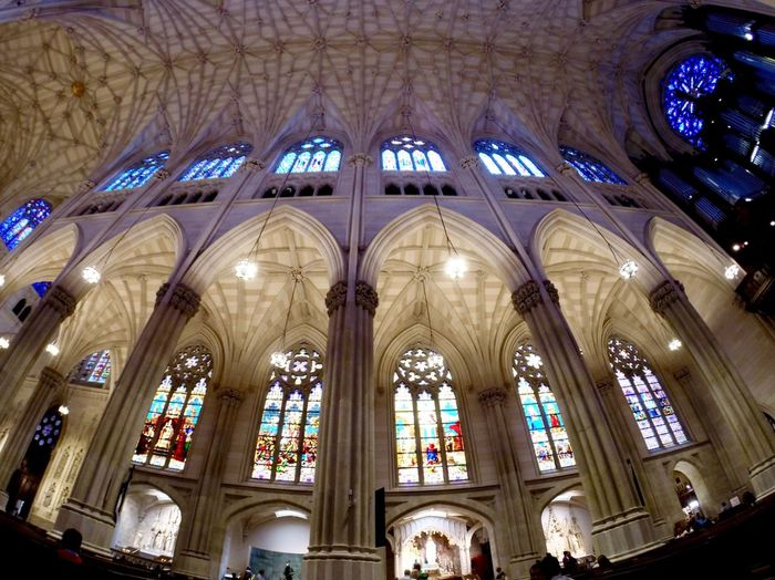 NYC cathederal Religion Place Of Worship Indoors  Spirituality Religion Church Low Angle View Ceiling Arch Religion Architecture Built Structure Cathedral Window Stained Glass History Architectural Feature Travel Destinations Famous Place Capital Cities