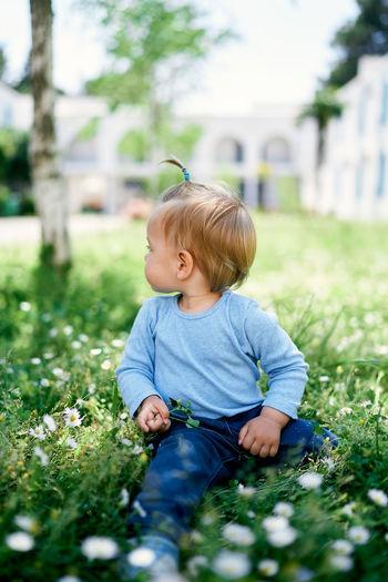 Cute boy sitting on field