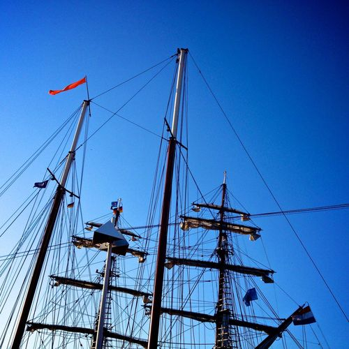 The beautiful Brigg Aphrodite! Architecture Blue Clear Sky Day Low Angle View Mast Mode Of Transportation Nature Nautical Vessel No People Outdoors Pole Rigging Rope Sailboat Sailing Sailing Ship Sea Ship Sky Transportation