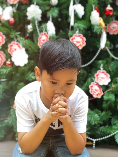 Boy asian christmas prayer Hope Wish Pray Prayer Christmastime christmas tree Real People Flowering Plant Lifestyles Leisure Activity Child Day