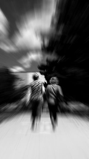 EyeEm Black And White Blackandwhite Photography Woman Friends Friendship Concentric City Motion Blurred Motion Abstract Full Frame