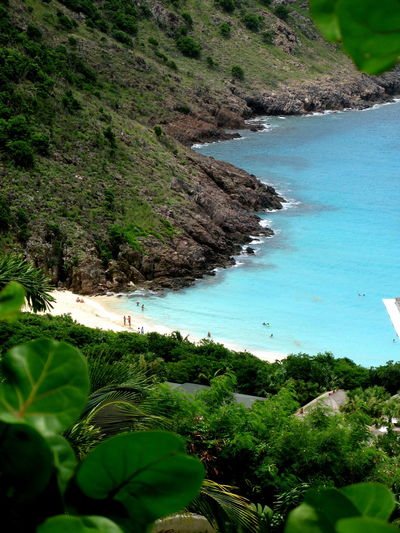 Beach Beauty In Nature Day Green Color Growth High Angle View Horizon Over Water Landscape Mountain Nature No People Outdoors Plant Sand Scenics Sea Sky Tranquil Scene Tranquility Tree Water Stbarth Stbarths Frenchwestindies Plagedugouverneur