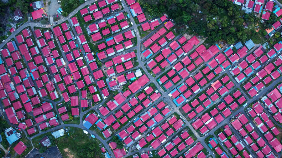 High angle view of roof tiles in park