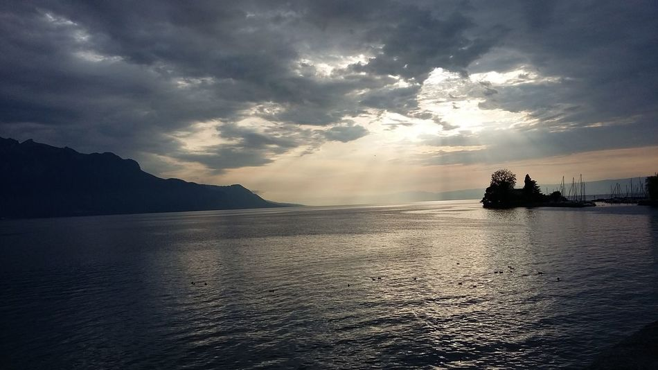 Piotr Mizerski Dusk Sky Montreux Sunlight Alps Beauty In Nature Cloud - Sky Clouds Day Lake Mountain Nature Nautical Vessel No People Outdoors Scenics Sea Silhouette Sky Sunset Switzerland Tranquil Scene Tranquility Water Waterfront